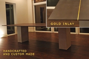 gold inlay concrete table