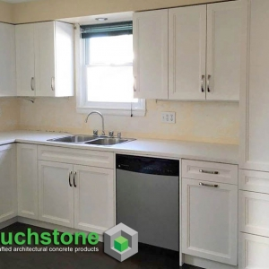 white kitchen concrete countertop